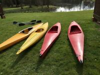 Four polypin canoes and paddles (one hull damage )