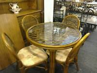 Cane and glass table and 4 Chairs#26814 £69