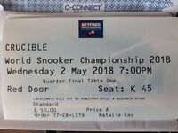 World Snooker Championship Ticket 2nd May Evening