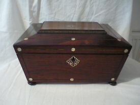 Antique Victorian Work Box Rosewood Mother of Pearl Sarcophagus Sewing Jewellery