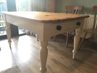 Antique solid pine, farmhouse table with chairs