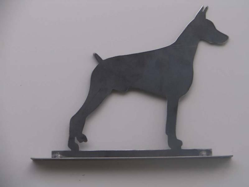 Doberman Pinscher Mailbox topper statue metal art