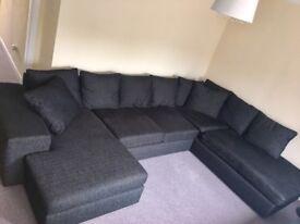 Charcoal fabric big Corner sofa