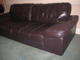 Dark Brown Leather 3 Seater Sofa