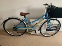 Ladies vintage style bike blue with tan leather srat