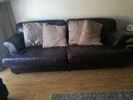 Sofa 3 / 4 seater brown leather £30ono