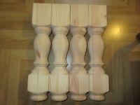 "Set of 4 x 18"" Pine Refectory Coffee Table legs *FREE POST* 460 X 92 X 92mm ~ Ex 4"""