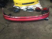 honda civic ek3 ej9 ek4 pre-facelift rear bumper with mud guards 96-98 red