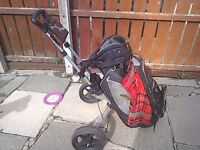 Powakaddy golf bag and trolley