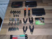 fishing bits leads, hook sharpening tools 3 bits tubs see pics