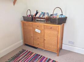 Solid wood and wicker sideboard
