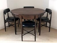 Mid-century teak extendable dining table and four chairs by G-Plan