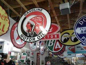 LARGE GAS OIL AND SODA SIGNS