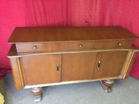 VINTAGE SIDEBOARD WITH DRAWS AND SLIDE OUT COMPARTMENT ,CAN DELIVER