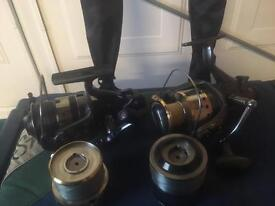 Carp rods & reels and Shakespear box with Octoplus system