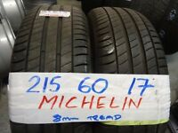MATCHING SET 215 60 17 MICHELINS 7MM TREAD £35 EACH £120 SET SUPP & FITTED (loads more av} TXT S