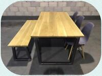 Dining table/bench/3x chairs/solid oak/industrial/kitchen/Furniture/Home/bespoke