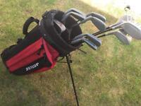 Golf clubs, bag and balls.