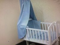 New blue dimple 3 piece swinging crib set