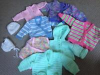 Assorted baby girl knitted items 0-3 months