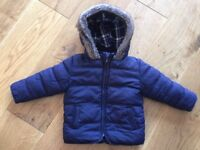 M&S navy boys winter coat 18-24m