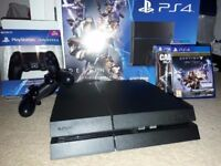 Play Station 4 jet black 500 GB in a box & 2 DualShock Controller