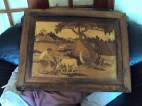 large heavy all wood wall hanging picture theres a name for these but dont know it