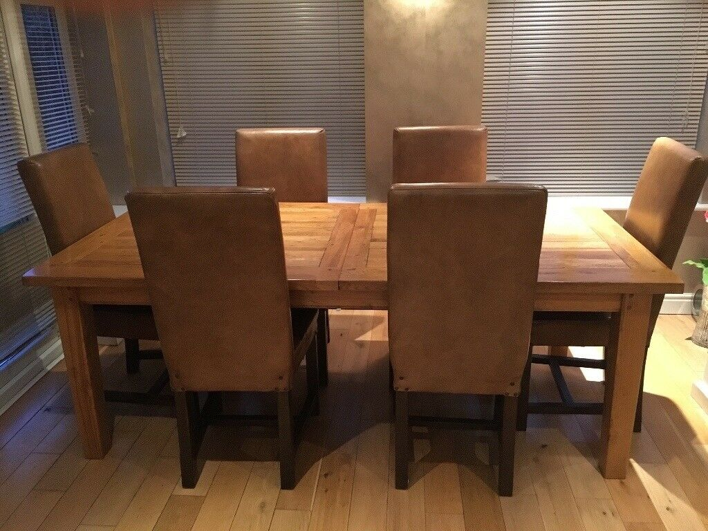 Barker And Stonehouse Micklow Soild Oak Dining Table 6 Chairs
