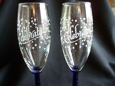 Cobalt Blue Celebrate! Champagne Flutes    Unique!     28 (Unique Champagne Flutes)