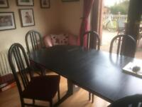 Black Ash Dining Room Table and 6 Chairs