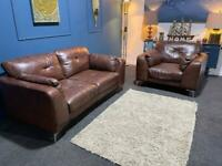 Brown tan leather suite 2 seater sofa and chair