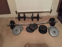Weight set 65kg, E/z bar & Dumbells