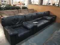 PRE OWNED 3 Seater Sofa + Armchair + Armchair in Navy Leather
