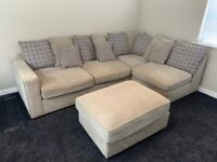 Large Corner Sofa and Pouffe - Grey - Pick Up Only