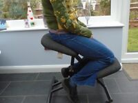 Kneeling chair for home or office by GGI, metal frame padded seat & knee pads.