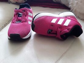 Baby girl pink adidas torsion shoes size3