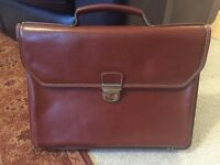 Tress & Co Leather Briefcase (Tan/Brown) - Lightly Used