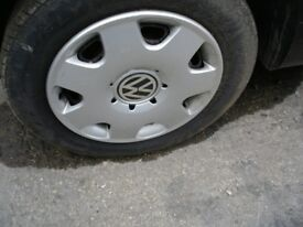 VW ALLOY WHEELS X 4, 185/60/14 WITH CENTRES, NEED A CLEAN