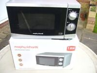 Morphy Richards 800W Microwave Oven Silver Like New In Box.