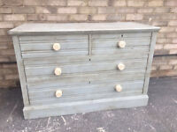 CHEST OF DRAWERS PAINTED SOLID FRENCH COUNTRY STYLE PALE BLUE