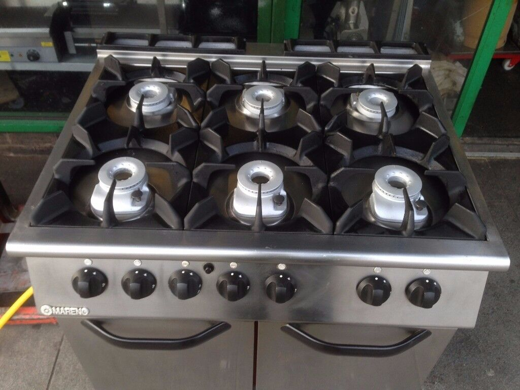 COMMERCIAL CATERING GAS 6 BURNER COOKER /OVEN TAKE AWAY RESTAURANT SHOP BBQ KITCHEN FAST FOOD