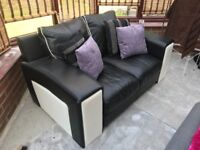 Black and White 2 and 3 Seater Sofa's