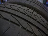 Matching pair of Runflat Tyres 225 45 R17 91W Bridgestone Potenza Run Flat approx 5mm tread depth