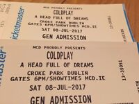 Cold Play Tickets x 2 - Croke Park Saturday 8 July 2017 - Standing Pitch Section 2