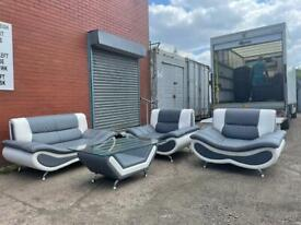 Absolutely Gorgeous grey & white sofa set delivery 🚚 sofa suite couch furniture