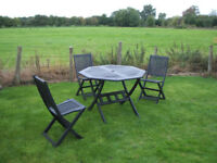 Wooden Garden table and 3 chairs/outdoor furniture