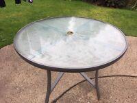 Grey circular garden table