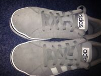 Adidas men's trainers. Size 7 grey with white stripes