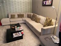 L shape sofa and foot stool for sale