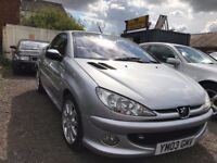 Peugeot 206 CC 1.6 S 2dr Convertible 80,759 miles Manual Petrol MOT 04/07/2018 REAR PARKING CAMERA